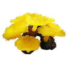 aqua one coral yellow mushrooms on rock 21 x 19 x 11cm aqua one
