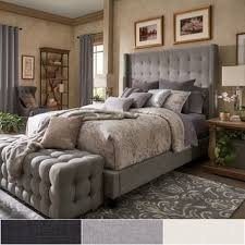 Headboard For Platform Bed Marion Nailhead Wingback Tufted Headboard Platform Bed By