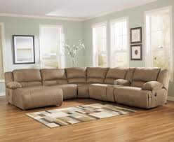 Living Room With Sectional Signature Design By Ashley Hogan Mocha 6 Piece Motion Sectional