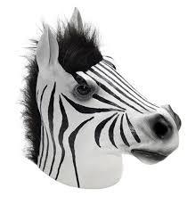 zebra latex overhead mask wild zoo animal halloween costume
