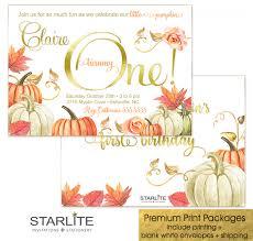 art birthday invitations pumpkin 1st birthday invitation orange gold starlite