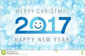 merry and happy new year 2017 smiling card stock