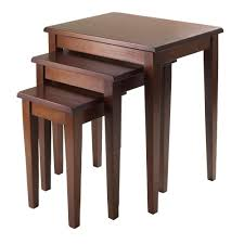 3 piece nesting tables winsome regalia 3 piece nesting table in walnut finish 94320 the