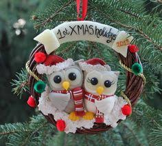 christmas wreath personalized our first christmas ornament as a