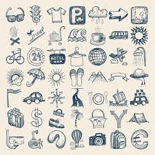 49 hand drawing doodle icon set travel theme royalty free