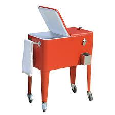 shop sunjoy 60 quart wheeled steel cart cooler at lowes com