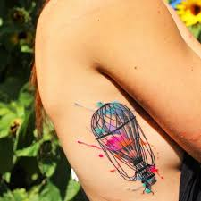 new traditional watercolor air balloon tattoos