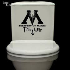 ministry of magic this way vinyl decal harry potter toilet sticker