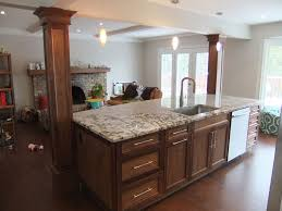 quartz countertops kitchen island with columns lighting flooring