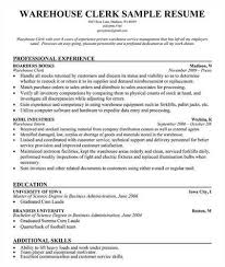 warehouse clerk resume resume templates