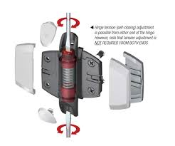Self Closing Stair Gate by Adjustable Glass Gate Closing Hinge Per Pair Fits 50mm Tube