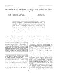 the meaning in questionnaire assessing the presence of and