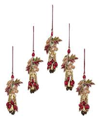 hand made beaded flower christmas ornaments set of 5 mughal