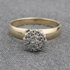 cluster rings owned 14 karat yellow gold diamond cluster ring