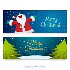 imagenes de santa claus feliz navidad banners de feliz navidad con santa claus feliz y árboles descargar