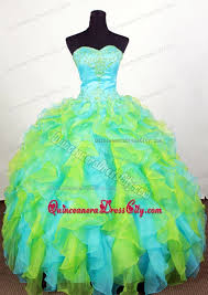 aqua green quinceanera dresses luxurious ruffled quinceanera dress in yellow green and aqua blue