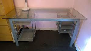 Glass Metal Computer Desk Desk The View School Pc Computer Furniture Glass Top Downview