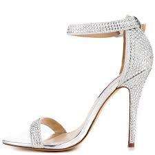 silver one strap heels fs heel