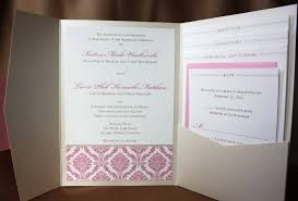 pocketfold invitations pink damask and metalic pocketfold wedding invitation design