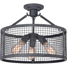 Semi Flush Mount Wlr1716mb Wilder 3 Light Semi Flush Mount In Mottled Black
