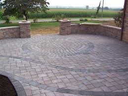 patio ideas with pavers circle pattern within paver patio u0026 walls that double as benches