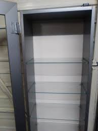 Ikea Bertby Glass Door Wall Cabinet Ikea Bertby Silver Display Cabinet With 9 Glass Shelves In
