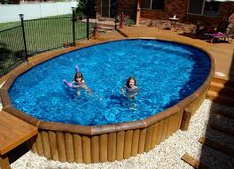 pool area ideas wooden materials of the above ground s wimming pool area can be