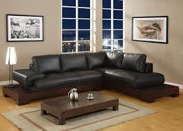 Leather Black Living Room Swivel Chair Gray Sofa With L Shape And Cushions Combined Cream Wooden F Table
