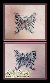 small butterfly filigree matching tattoos initials colour