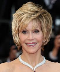are jane fonda hairstyles wigs or her own hair jane fonda short straight formal hairstyle with layered bangs