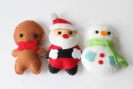 felt plush ornaments santa claus snowman gingerbread