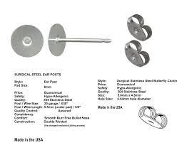 surgical steel stud earrings earring findings 150051 720 stainless steel stud earring posts