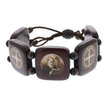 catholic bracelets st benedict wood bracelet brown wood the catholic company