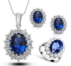 jewelry blue sapphire necklace images Princess diana kate royal wedding ring blue sapphire gemstone jpg
