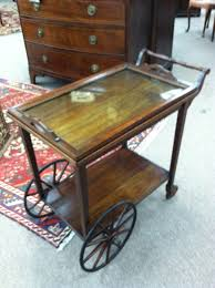 gorgeous antique mahogany rolling tea cart circa 1920 for sale