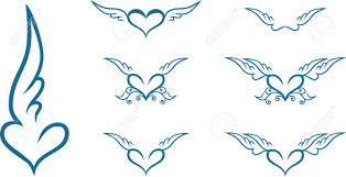 set of vintage heart with wings royalty free cliparts vectors