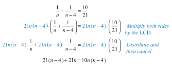 we can solve this rational expression by multiplying both sides of the equation by the least common denominator lcd in this case the lcd is 21n n 4 21