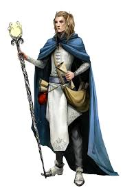 male elf wizard with staff and blue cloak pathfinder pfrpg dnd
