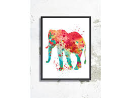 watercolor art print elephant painting elephant poster animal