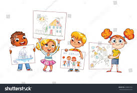 cute kids show their drawings drawn stock vector 670857370