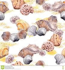 seamless seashell and sand wallpaper on white background