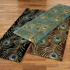 Bath Mat Runner Peacock Feathers Rug Runner