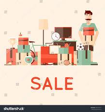 sale items preparing garage sale flat stock vector 348104747