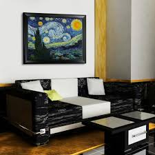 30 in x 40 in starry night hand painted framed oil painting starry night hand painted framed oil painting