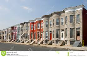 row homes colorful row houses along a residential street in baltimore with