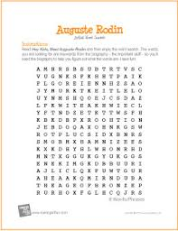 auguste rodin word search worksheet