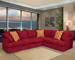 red velvet couch with back combined with arm rest plus orange red