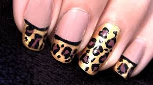 leopard print nails leopard french tip nails tutorial youtube