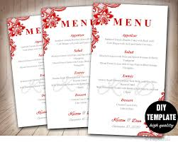 red wedding menu card template diy wedding menu template red