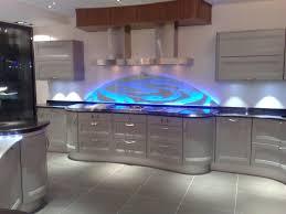 decorative sandblasted glass splashback complemented by